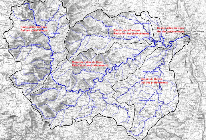 carte de situation des sous bassin versant du Doux.png